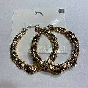 NWT Bamboo Styled Gold Hoop Earrings Chunky